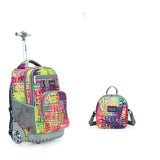 Tilami 18 Inch Wheeled Rolling Backpack Luggage and Lunch Bag Set Weave - Tilamibag