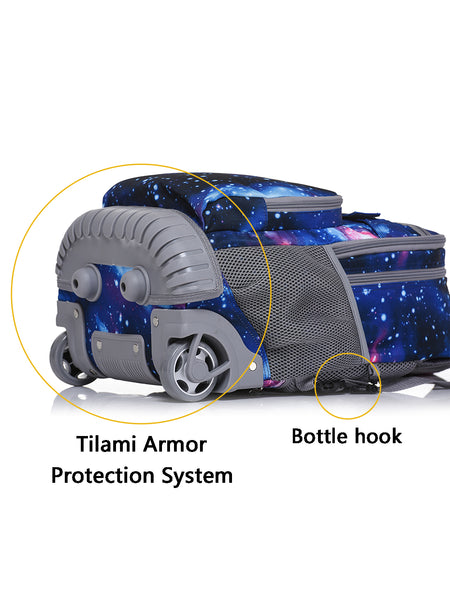Tilami Blue Galaxy Rolling Backpack Rolling Backpack 18 Inch For School and Travel - Tilamibag