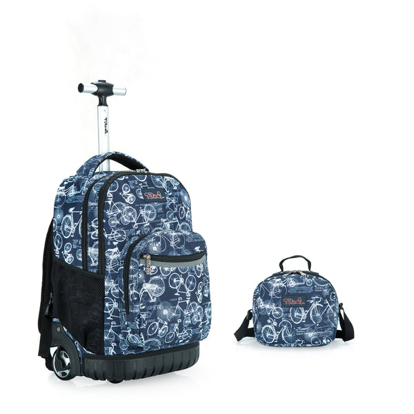 Tilami 18 Inch Wheeled Rolling Backpack Luggage and Lunch Bag Set Bicycle - Tilamibag