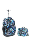 Tilami Boy 18 Inch Blue Wheeled Rolling Backpack Luggage and Lunch Bag (Pink Pilot series 2) - Tilamibag