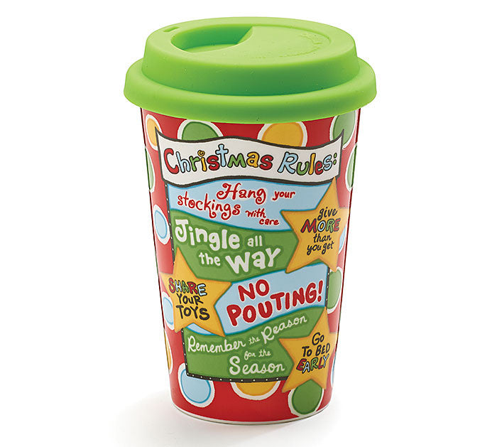 Christmas Rules Mug with Lid, [Premier Gifts and Balloons], Drinkware, Premier Gifts 'n Balloons