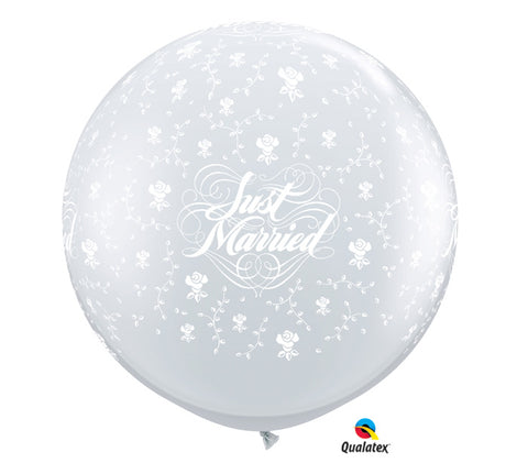 3' Just Married Latex Balloons, [Premier Gifts and Balloons], Balloons, Premier Gifts 'n Balloons