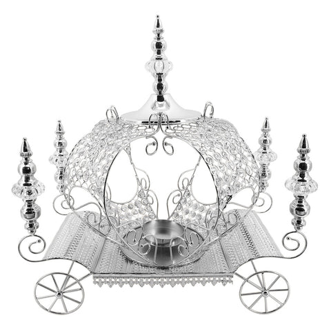 Crystal Carriage Candleholder- Silver
