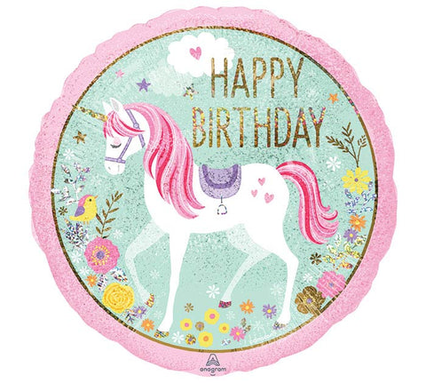 "18"" Pkg HBD Magical Unicorn Balloon"