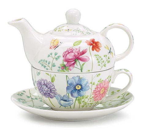 Mixed Blooms Stacked Teapot