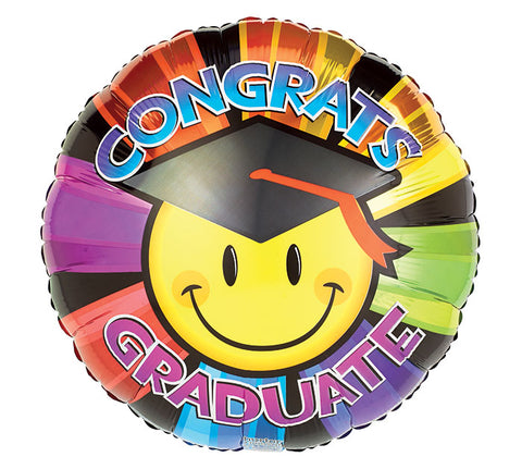 "17"" Smiley Grad Foil Balloon, [Premier Gifts and Balloons], Balloons, Premier Gifts 'n Balloons"