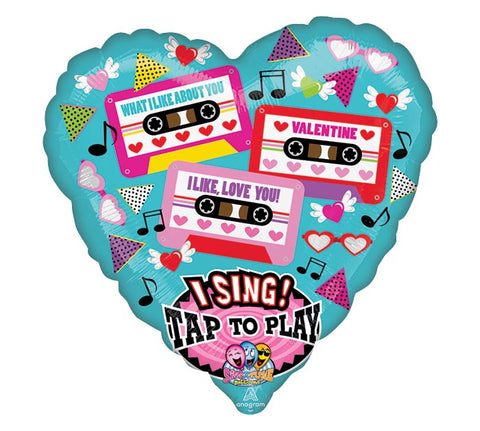 "29"" Valentine's Tapes Sing A Tune Balloon"