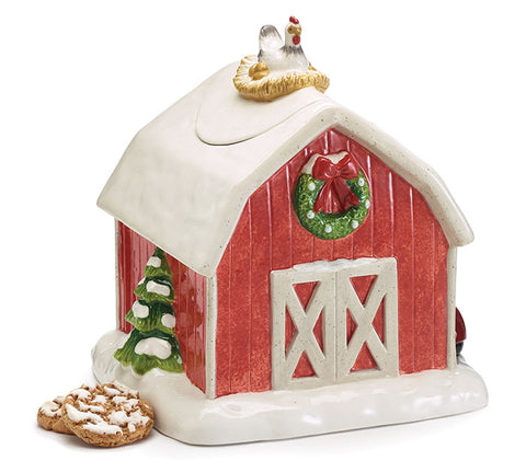 Christmas Red Barn Cookie Jar