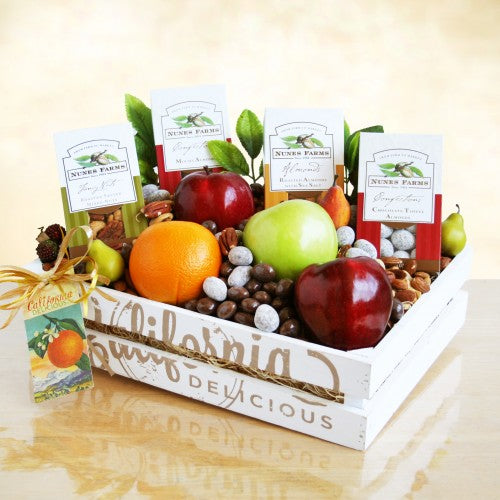 California Delicious Fruit and Nuts Crate, [Premier Gifts and Balloons], Gift Basket, Premier Gifts 'n Balloons