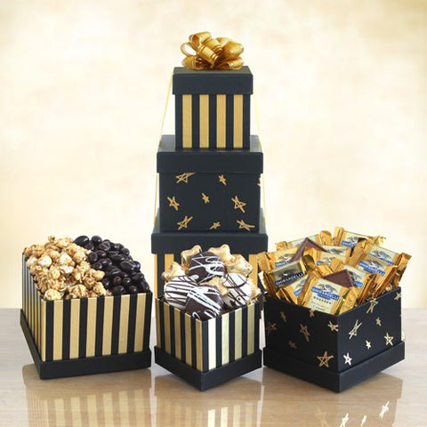 Black & Gold Elegance Chocolate Tower, [Premier Gifts and Balloons], Gift Basket, Premier Gifts 'n Balloons