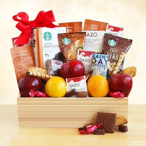 Starbucks Select and Fruit in a Crate, [Premier Gifts and Balloons], Gift Basket, Premier Gifts 'n Balloons
