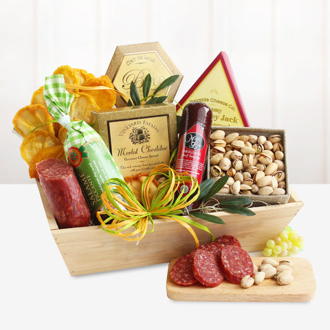 Meat & Cheese Wooden Gift Crate, [Premier Gifts and Balloons], Gift Basket, Premier Gifts 'n Balloons