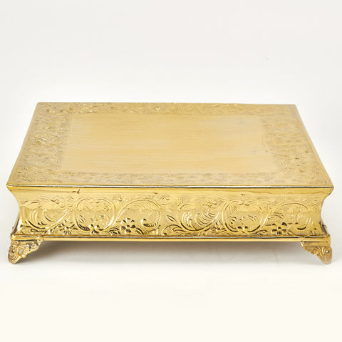 Gold Contemporary Square Cake Stand- Rental