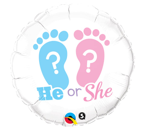 "18"" Pkg He She Baby Gender Reveal Balloon, [Premier Gifts and Balloons], Balloons, Premier Gifts 'n Balloons"