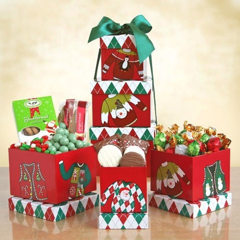 Holiday Sweater Snack Tower, [Premier Gifts and Balloons], Gift Basket, Premier Gifts 'n Balloons