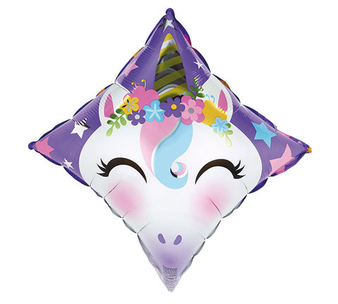 "17"" Pkg Diamond Unicorn Foil Balloon"