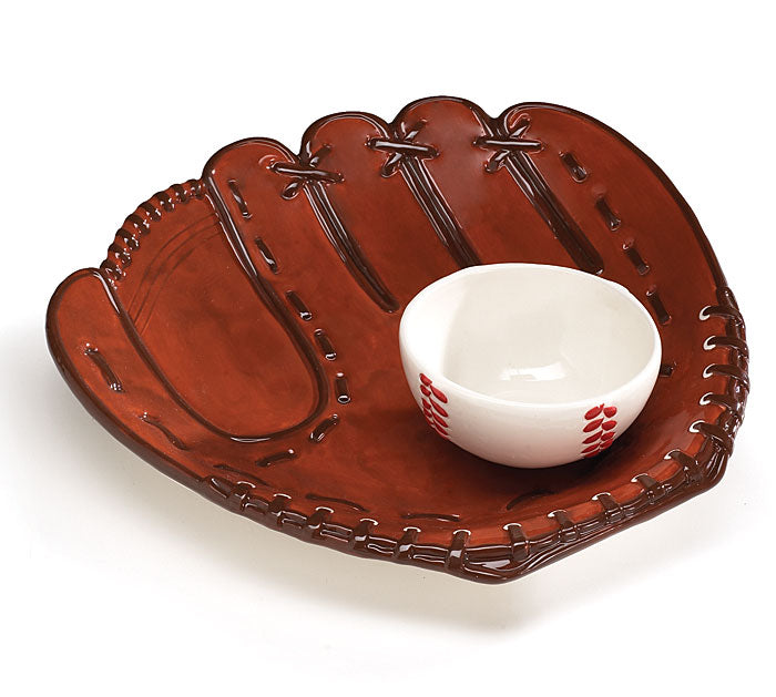 Baseball Ceramic Chip and Dip Tray, [Premier Gifts and Balloons], Novelty Item, Premier Gifts 'n Balloons
