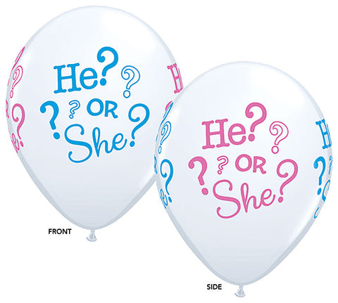 "11"" Baby He She Gender Reveal Latex Balloons"