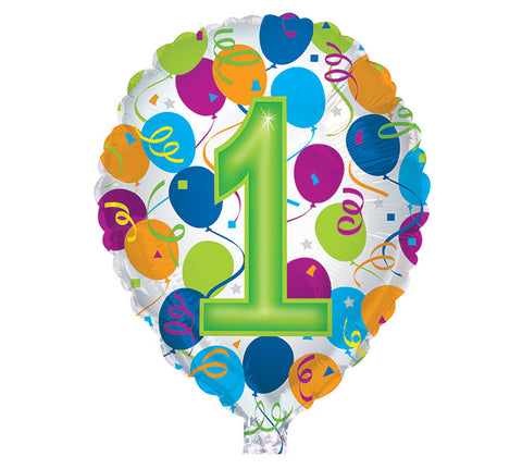"18"" Number 1 HBD Foil Balloon, [Premier Gifts and Balloons], Balloons, Premier Gifts 'n Balloons"