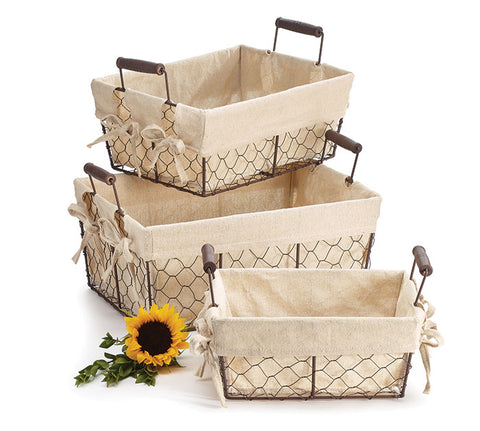 Wire Rectangle Muslin Lined Basket Set