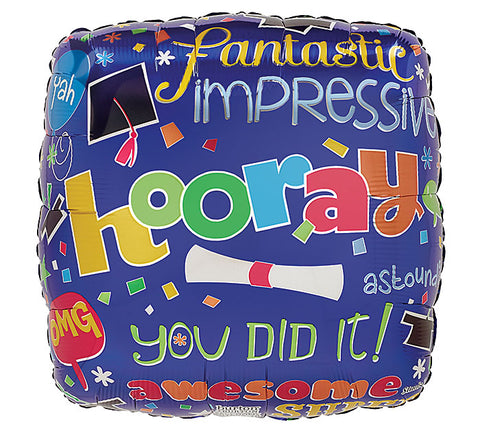 "17"" Hooray Grad Foil Balloon, [Premier Gifts and Balloons], Balloons, Premier Gifts 'n Balloons"