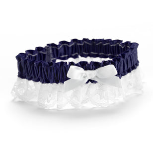 Midnight Ribbon and Lace Garter