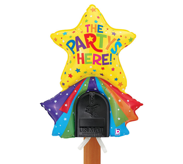 "33"" Pkg Party's Here Mailbox Balloon, [Premier Gifts and Balloons], Balloons, Premier Gifts 'n Balloons"