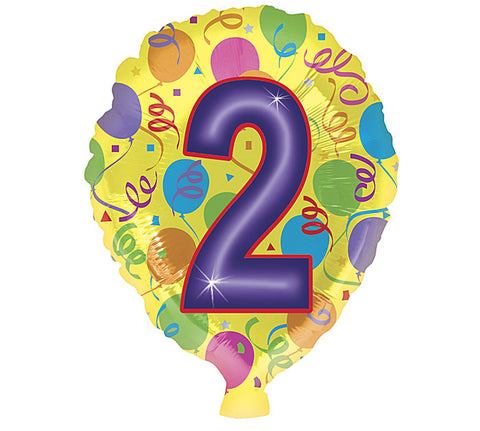 "18"" Number 2 HBD Foil Balloon, [Premier Gifts and Balloons], Balloons, Premier Gifts 'n Balloons"