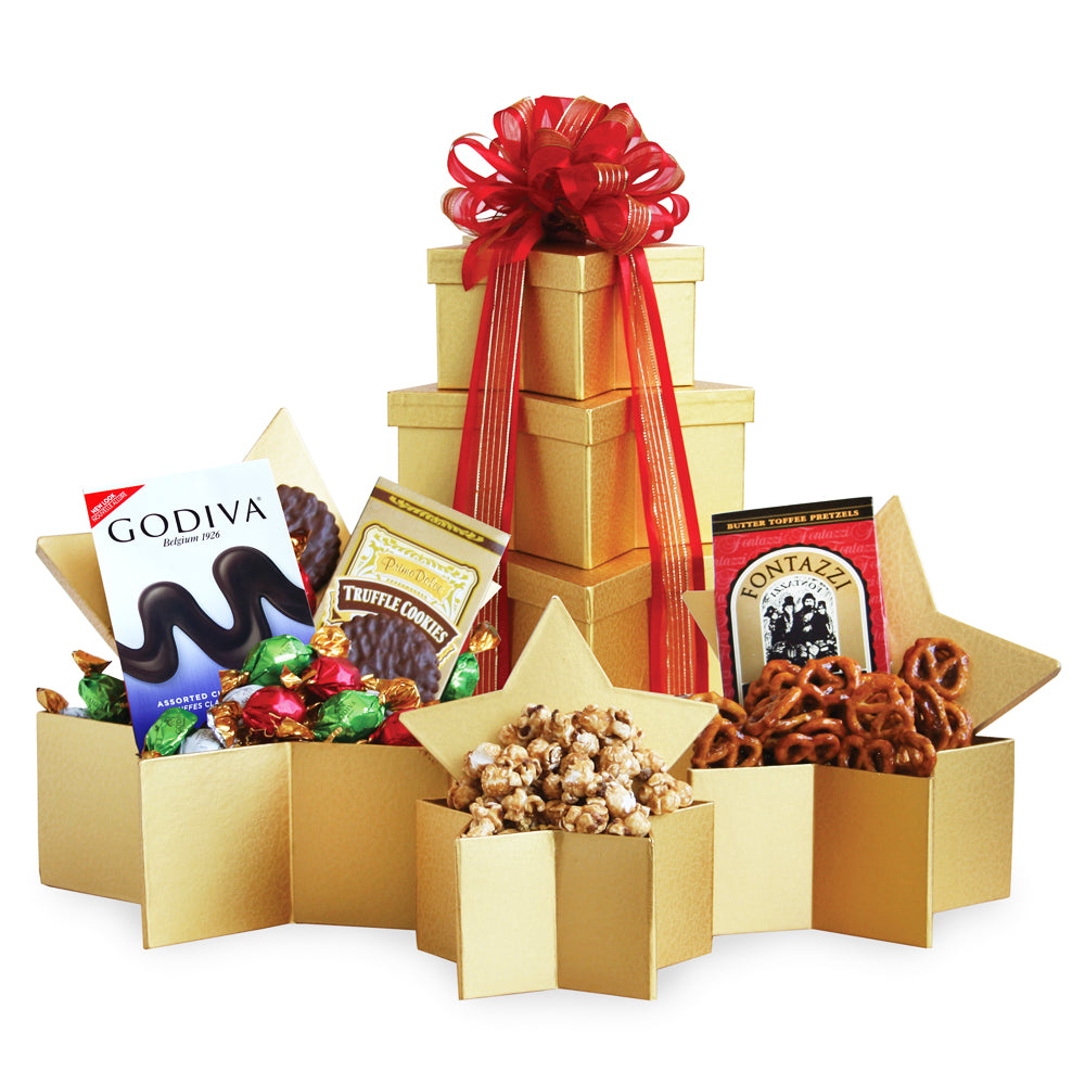Holiday Superstar Gift Tower, [Premier Gifts and Balloons], Gift Basket, Premier Gifts 'n Balloons