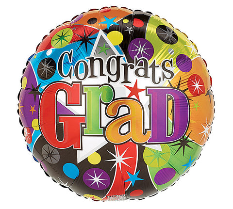 "17"" Congrats Grad Foil Balloon, [Premier Gifts and Balloons], Balloons, Premier Gifts 'n Balloons"