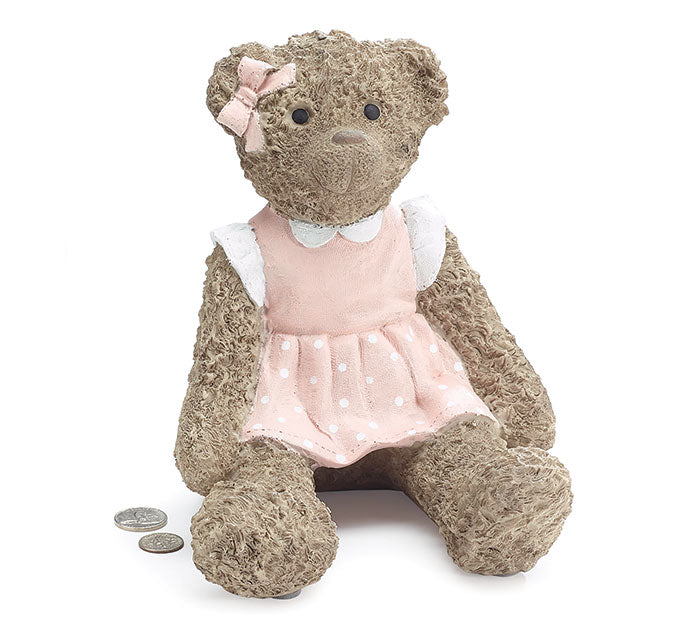Teddy Bear Resin Pink Bank