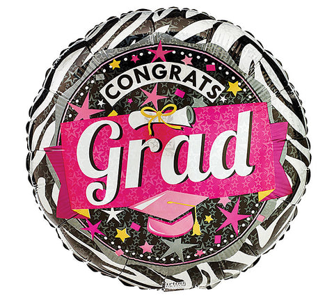 "17"" Pink Zebra Grad Foil Balloon, [Premier Gifts and Balloons], Balloons, Premier Gifts 'n Balloons"