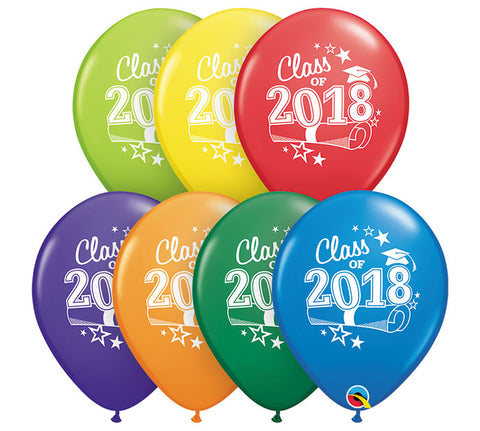 "11"" Class of '18 Carnival Asst Latex Balloon, [Premier Gifts and Balloons], Balloons, Premier Gifts 'n Balloons"