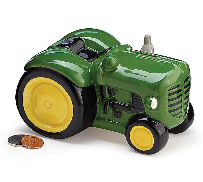 Green Tractor Bank, [Premier Gifts and Balloons], Ceramic Gifts, Premier Gifts 'n Balloons