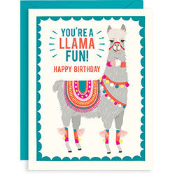 Llama Fun Birthday A2 Card, [Premier Gifts and Balloons], Stationary, Premier Gifts 'n Balloons