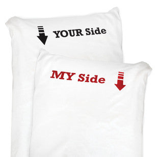 My Side and Your Side Pillowcase Set, [Premier Gifts and Balloons], Home Decor, Premier Gifts 'n Balloons