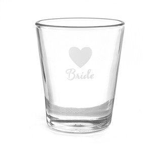 Bride Heart Wedding Party Shot Glass