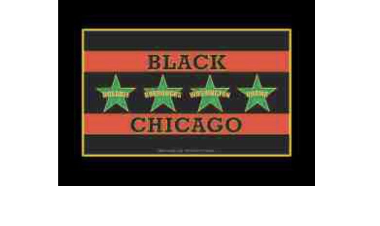 Black Chicago Flag Refrigerator Magnet, [Premier Gifts and Balloons], Afrocentric, Premier Gifts 'n Balloons