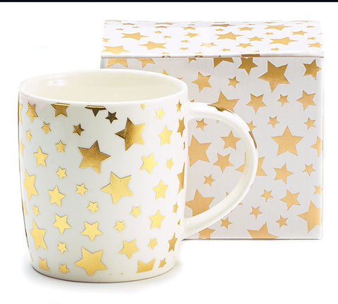 Metallic Gold Stars Mug, [Premier Gifts and Balloons], Drinkware, Premier Gifts 'n Balloons