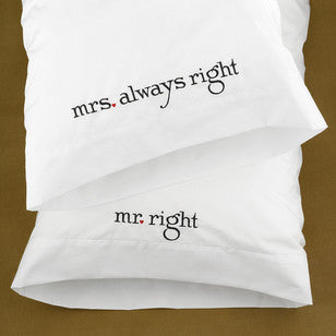 Mr. and Mrs. Right Pillowcase Set, [Premier Gifts and Balloons], Home Decor, Premier Gifts 'n Balloons