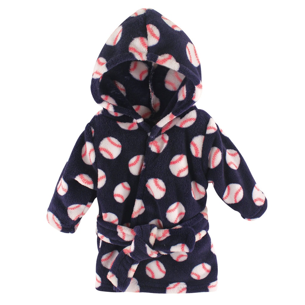 Baseball Coral Fleece Hooded Bathrobe, [Premier Gifts and Balloons], Premier Baby, Premier Gifts 'n Balloons