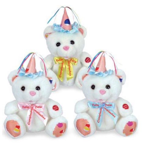 Spanish Birthday Party Bears Asst., [Premier Gifts and Balloons], Plush Toys, Premier Gifts 'n Balloons