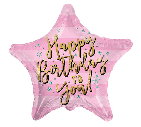 "17"" HBD Pink Star Foil Balloon, [Premier Gifts and Balloons], Balloons, Premier Gifts 'n Balloons"