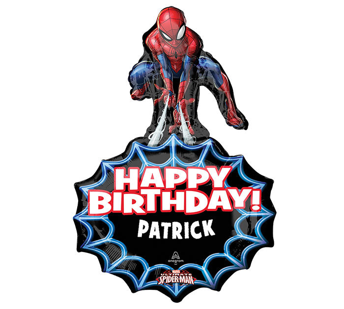 "34"" Pkg Spider-Man Personalized Balloon, [Premier Gifts and Balloons], Balloons, Premier Gifts 'n Balloons"