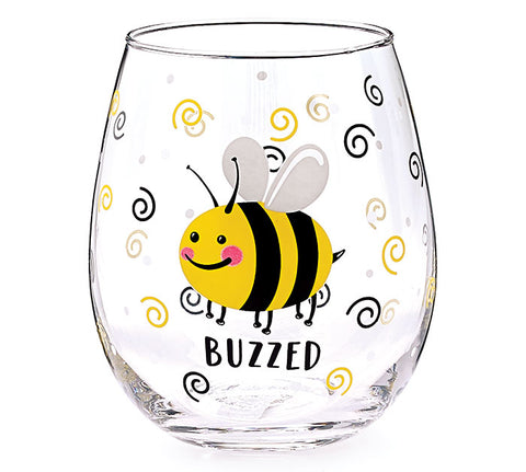 Bee Buzzed Stemless Glass, [Premier Gifts and Balloons], Drinkware, Premier Gifts 'n Balloons