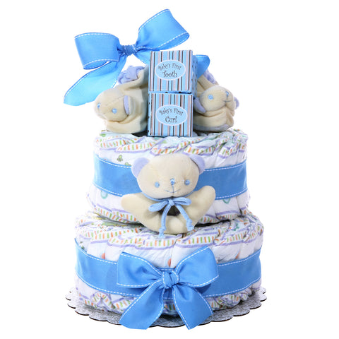 Baby Cakes 2 Tier Diaper Cake Boy, [Premier Gifts and Balloons], Diaper Cake, Premier Gifts 'n Balloons