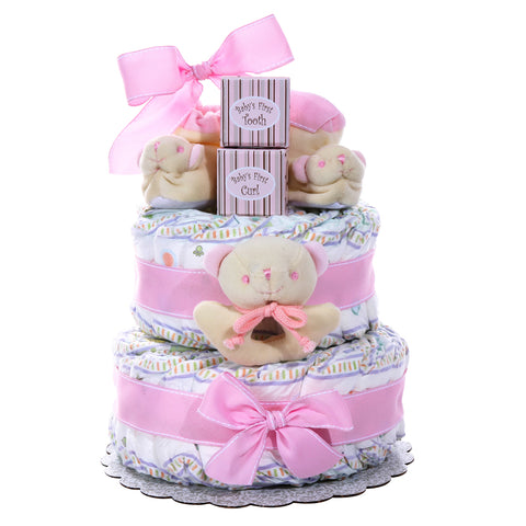 Baby Cakes 2 Tier Diaper Cake Girl, [Premier Gifts and Balloons], Diaper Cake, Premier Gifts 'n Balloons