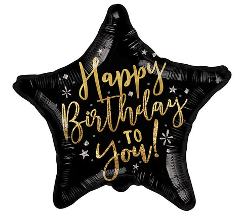 "17"" HBD Gold Black Star Balloon, [Premier Gifts and Balloons], Balloons, Premier Gifts 'n Balloons"