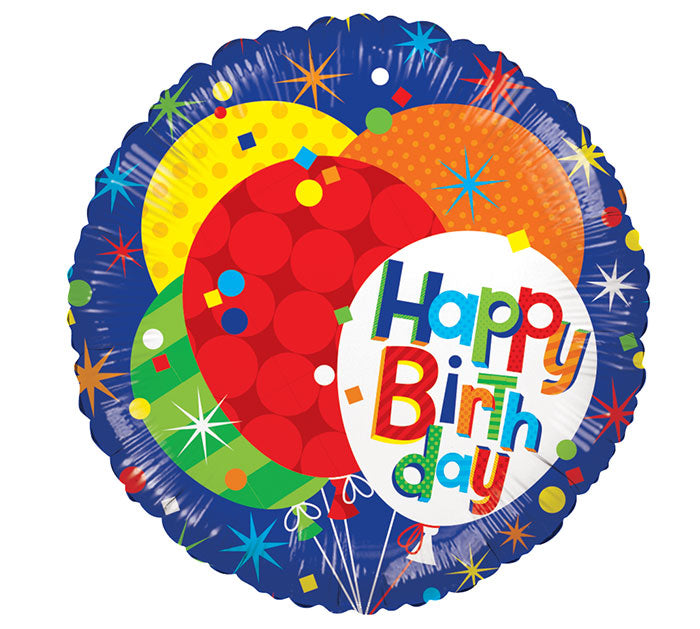 "17"" HBD Patterned Blue Foil Balloon, [Premier Gifts and Balloons], Balloons, Premier Gifts 'n Balloons"