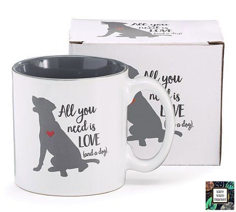 All You Need Is Love/Dog Ceramic Mug, [Premier Gifts and Balloons], Drinkware, Premier Gifts 'n Balloons